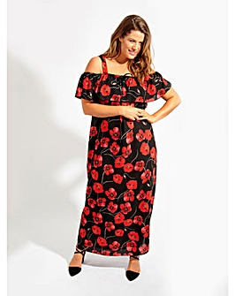 Lovedrobe GB Black Poppy Print Dress