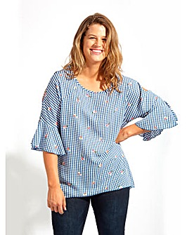 Koko Blue Gingham Cold Shoulder Blouse