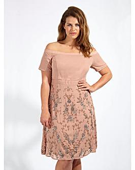 Lovedrobe Luxe Embellished Bardot Dress