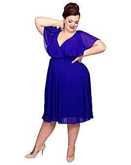 Scarlett & Jo Pleat Skirt Chiffon Dress