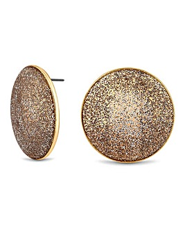 Mood Gold Glitter Disc Stud Earring