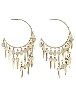 Mood Charm Fringed Hoop Earring