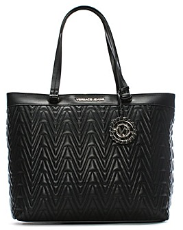 Versace Jeans Quilted V Motif Tote Bag