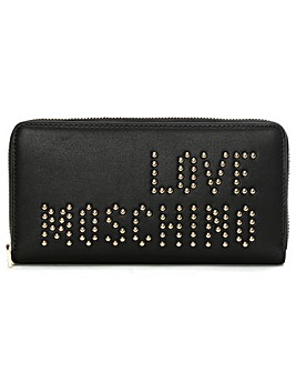 Love Moschino Studded Zip Around Wallet