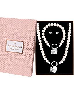 Jon Richard Pearl Heart Jewellery Set