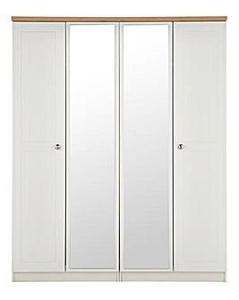 Clovelley 4 Door Mirrored Wardrobe