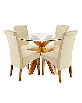 Albany Circular Table 4 Siena Chairs