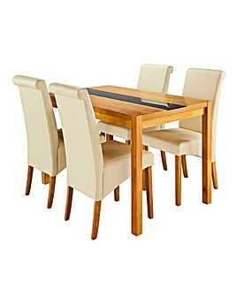 Oakham Glass 4 Siena Faux Leather Chairs