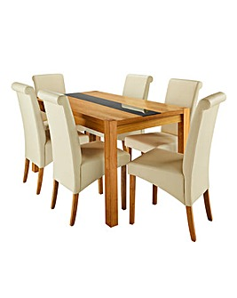 Oakham Glass 6 Siena Faux Leather Chairs