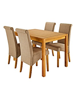 Oakham Table with 4 Siena Fabric Chairs