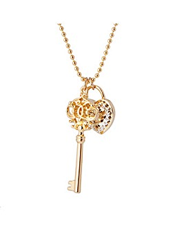 Gold Plated Key Padlock Pendant