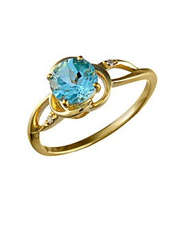 9ct Blue Topaz & Dia Ring