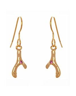Gold Plated Crystal Wishbone Earrings