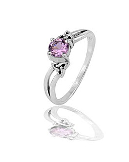 Sterling Silver 0.01Ct Amethyst Ring
