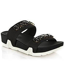 Ash Oman Black Flat Sandal
