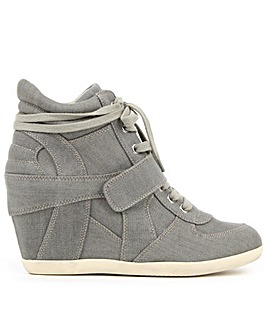Ash Grey Denim Wedge High Top Trainers