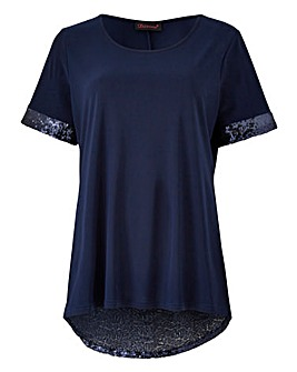 Jersey Sequin Drop Hem Top