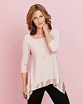 Sequin Hanky Hem Jersey Top