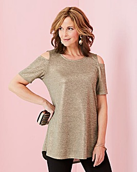 Metallic Cold Shoulder Jersey Top