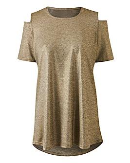 Metallic Cold Shoulder Jersey Top