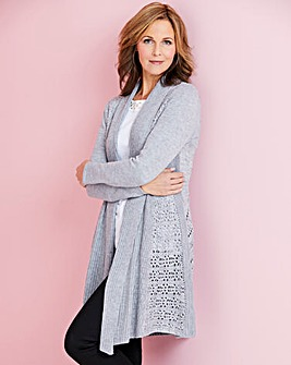 Longline Crochet Back Cardigan