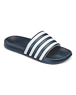 Navy Stripe Pool Slide Wide Fit