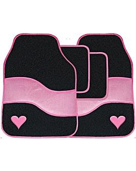 4 Pce  Pink Carpet Mat Set With Heart