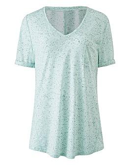 Aqua V Neck Neppy Pocket Tshirt