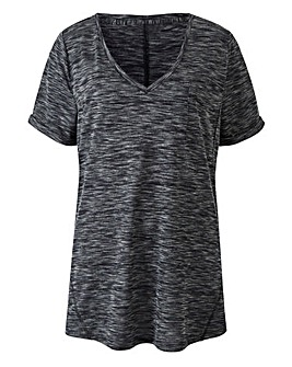 Mid Grey V Neck Space Dye Pocket Tshirt
