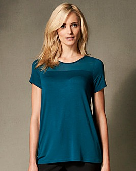 Teal Mesh Trim Top
