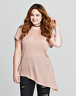 Blush Pink Asymmetric Glitter Top