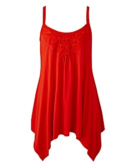 Red Asymmetric Lace Trim Vest