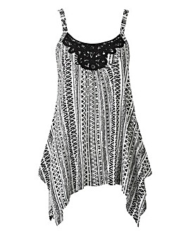 Black Aztec Asymmetric Lace Trim Vest