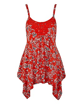Red Floral Asymmetric Lace Trim Vest