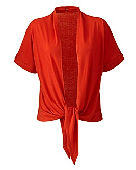 Red Tie Front Jersey Shrug