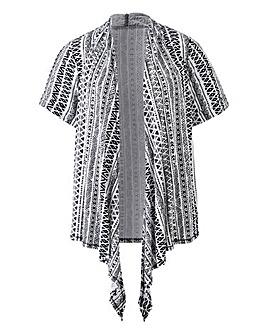 Black Aztec Tie Front Jersey Shrug
