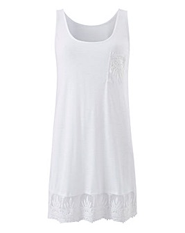 White Lace Trim Vest Top