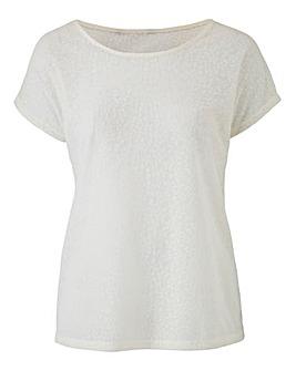White Floral Jacquard TShirt