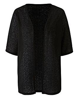 Black Floral Jacquard Kimono