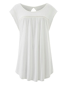 Ivory Frill Sleeve Ladder Trim Top