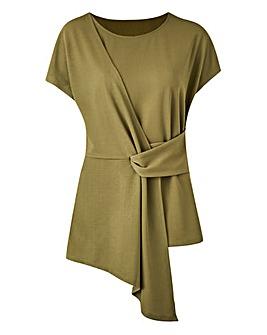 Light Khaki Tie Front Short Sleeve Top