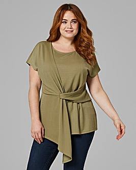 Light Khaki Tie Front Short Sleeve Top