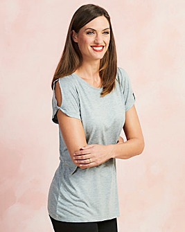 Grey Marl Twist Cold Shoulder T-shirt
