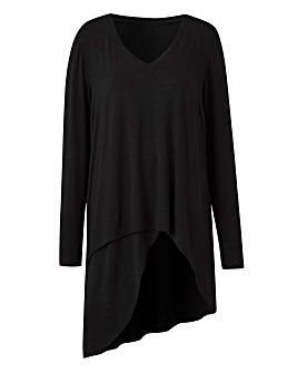 Black Asymmetric Wrap Over V Neck Top