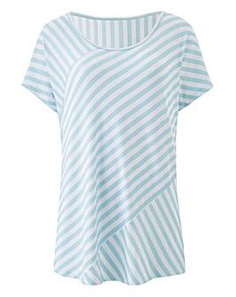Aqua Contrast Stripe Slouch Top
