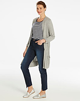 Grey Marl Boyfriend Long Sleeve Cardigan