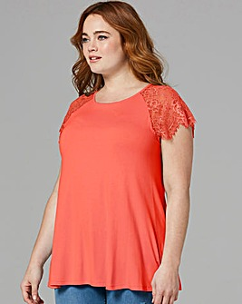 Dusky Pink Lace Sleeve Swing Top