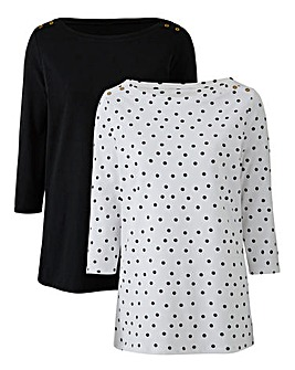 Black/Spot Pack of 2 Boat Neck Tops