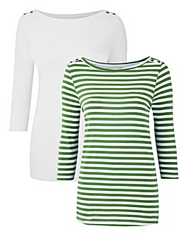White/Stripe Pack of 2 Boat Neck Tops