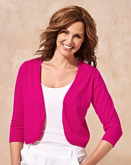 Hot Pink 3/4 Sleeve Jersey Shrug